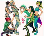 3boys 3girls donatello_versace foo_fighters hermes_costello jojo_no_kimyou_na_bouken kuujou_jolyne multiple_boys multiple_girls rykiel ungaro yyy246
