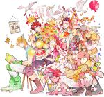 2girls 4boys balloon barbell bird birthday_cake book bouquet caesar_anthonio_zeppeli cake confetti dove flower food highres jojo_no_kimyou_na_bouken joseph_joestar_(young) lisa_lisa loggins_(jojo) messina_(jojo) momijimanjuu multiple_boys multiple_girls reading stuffed_animal stuffed_toy sunflower suzi_quatro teddy_bear