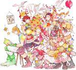 2girls 4boys balloon barbell bird birthday_cake book bouquet caesar_anthonio_zeppeli cake confetti dove flower food highres jojo_no_kimyou_na_bouken joseph_joestar_(young) lisa_lisa loggins_(jojo) messina_(jojo) momijimanjuu multiple_boys multiple_girls reading stuffed_animal stuffed_toy sunflower suzi_quatro teddy_bear