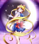 1girl bishoujo_senshi_sailor_moon blonde_hair blue_eyes blush boots bow character_name crescent crescent_moon earrings elbow_gloves gloves hair_ornament highres jewelry long_hair looking_at_viewer magical_girl miniskirt moon pose purple_background red_boots sailor_collar sailor_moon sailor_senshi skirt smile solo star tsuki_ni_kawatte_oshioki_yo tsukino_usagi twintails yomitrooper