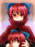 1girl bow cape covered_mouth disembodied_head gradient gradient_background hair_bow highres holding_head koto_(shiberia39) light_frown long_sleeves looking_at_viewer red_eyes redhead sekibanki short_hair solo sweatdrop touhou