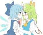 2girls ascot blue_eyes blue_hair blush bow cirno colored daiyousei fairy_wings forehead-to-forehead fujishiro_emyu green_hair hair_bow hair_ornament hair_ribbon hairclip ice ice_wings looking_at_another multiple_girls open_mouth profile puffy_sleeves ribbon short_hair short_sleeves side_ponytail simple_background sketch star sweat touhou vest white_background wings