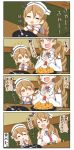 1girl 4koma =_= bare_shoulders brown_eyes brown_hair chibi closed_eyes comic commentary_request detached_sleeves food food_on_face fried_egg hat highres kantai_collection littorio_(kantai_collection) long_hair necktie open_mouth ponytail puchimasu! shirt sleeveless sleeveless_shirt sweat translation_request wavy_hair wavy_mouth yuureidoushi_(yuurei6214)