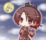 >_< 1girl :3 :o animal bangs black_ribbon brown_eyes brown_hair brown_kimono eyebrows_visible_through_hair full_moon gradient_hair hair_between_eyes hair_ribbon high_ponytail japanese_clothes kantai_collection kimono kinchaku komakoma_(magicaltale) leaf_print long_sleeves mallet moon multicolored_hair obi parted_lips ponytail pouch print_kimono rabbit redhead ribbon sash shikinami_(kantai_collection) solo wide_sleeves
