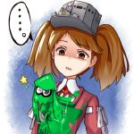 ... 1girl brown_eyes brown_hair crossover empty_eyes flat_chest inkling japanese_clothes kantai_collection kariginu one_eye_closed open_mouth paint_stains ribbon-trimmed_sleeves ribbon_trim ryuujou_(kantai_collection) shaded_face splatoon squid star twintails visor_cap