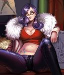 1girl blue_eyes breasts cleavage crop_top dantewontdie glasses jacket large_breasts long_sleeves looking_at_viewer midriff my_little_pony navel open_clothes open_jacket pants parted_lips purple_hair rarity red-framed_glasses sitting solo tattoo
