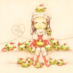 1girl closed_eyes hikari_(pokemon) kurimomo_(kaiko825) natu pokemon pokemon_(creature) pokemon_(game) pokemon_dppt smile