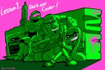 1girl 3boys english gears_of_war gun halo_(game) highres inkling lancer_(weapon) marcus_fenix master_chief metal_gear_(series) multiple_boys power_suit purple_background solid_snake splatoon tonda wall weapon
