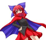 1girl bow cape covered_mouth hair_bow hand_on_hip highres red_eyes redhead sekibanki shirt short_hair simple_background skirt ten'yoku touhou white_background