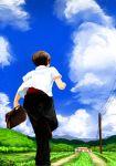 1girl 4girls artist_request blue_sky briefcase brown_hair clouds commentary_request furude_rika grass highres higurashi_no_naku_koro_ni houjou_satoko maebara_keiichi mountain multiple_girls running ryuuguu_rena sky sonozaki_mion