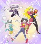 amethyst_(steven_universe) amethyst_(steven_universe)_(cosplay) backpack bag blake_belladonna blonde_hair bow crossover garnet_(steven_universe) garnet_(steven_universe)_(cosplay) gauntlets hair_bow long_hair pearl_(steven_universe) pearl_(steven_universe)_(cosplay) redhead ruby_rose rwby sandals short_hair steven_quartz_universe steven_quartz_universe_(cosplay) steven_universe sunglasses sword weapon weiss_schnee whip white_hair yang_xiao_long
