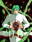 alternate_color blood circle earrings gakuran gears green_hair hierophant_green hole hole_on_body jewelry jojo_no_kimyou_na_bouken kakyouin_noriaki koryuu_(tachan1004) red_eyes school_uniform stand_(jojo)
