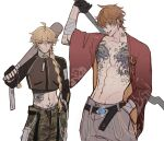 2boys abs absurdres aether_(genshin_impact) ahoge alternate_costume arm_tattoo artist_name bandages bangs baseball_bat black_gloves blonde_hair blue_eyes boxers camouflage camouflage_pants chest_tattoo closed_mouth cropped_jacket earrings eyebrows_visible_through_hair fingerless_gloves genshin_impact gloves ha_ze hair_between_eyes hand_in_pocket highres holding jacket jewelry long_hair long_sleeves male_focus male_underwear multiple_boys neck_tattoo open_clothes pants pectorals piercing pubic_tattoo simple_background single_earring tartaglia_(genshin_impact) tattoo tongue tongue_out tongue_piercing underwear vision_(genshin_impact) white_background wide_sleeves yellow_eyes