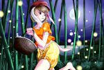 1girl absurdres animal_ears bamboo bamboo_forest barefoot basket blonde_hair bush curvy dango danmaku fireflies food food_in_mouth forest frills hat highres legacy_of_lunatic_kingdom lights looking_back moon moon_rabbit nature night night_sky orange_shirt patterned pumpkin_shorts rabbit_ears red_eyes red_hat ringo_(touhou) running shirt short_hair sky striped_shorts toothpick tossing touhou wagashi yellow_pants yomitrooper