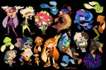 :p anemo_(splatoon) aori_(splatoon) bike_shorts bukichi_(splatoon) cat clownfish commander_atarime daunii_(splatoon) earrings echizen_(splatoon) food glasses gloves headphones headphones_around_neck hotaru_(splatoon) inkling jajji-kun_(splatoon) jewelry kumano_(splatoon) mask mole mole_under_eye pantyhose pointy_ears rob_(splatoon) siblings sisters spiky_hair splatoon squid super_soaker tentacle_hair tongue tongue_out tuyo