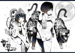 2girls :p bob_cut boots commentary covering hat kyan-dog monochrome original scarf sitting snake tattoo tiger tongue