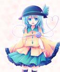 1girl blue_hair hat heart komeiji_koishi kurosu kurosu_rino open_mouth skirt smile solo thigh-highs third_eye touhou
