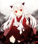child darkness demon_girl grin horns japanese_clothes kimono kurasuke long_hair monster_girl nail_polish red_eyes smile white_hair