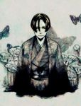 bob_cut commentary commentary_request flower japanese_clothes kajiwara_shikaji male monochrome moth original solo