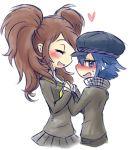 2girls blue_hair blush breast_press brown_hair closed_eyes hat heart kujikawa_rise mahoxyshoujo multiple_girls persona persona_4 shirogane_naoto yuri