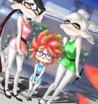 +_+ 3girls anemo_(splatoon) aori_(splatoon) bare_shoulders black-framed_glasses black_hair blossom_(ppg) blossom_(ppg)_(cosplay) blue_dress blue_eyes bubbles_(ppg) bubbles_(ppg)_(cosplay) buttercup_(ppg) buttercup_(ppg)_(cosplay) commentary_request cosplay dabohaze_(artist) domino_mask dress eyeshadow fangs frown glasses green_dress highres hotaru_(splatoon) leaf long_hair makeup mary_janes mask mole mole_under_eye multiple_girls open_mouth pale_skin pantyhose pink_dress pink_hair pointy_ears powerpuff_girls rob_(splatoon) shoes short_dress short_hair siblings silver_hair sisters splatoon symbol-shaped_pupils tentacle_hair white_legwear yellow_eyes