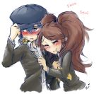 2girls black_hair blush brown_hair hat kujikawa_rise mahoxyshoujo multiple_girls persona persona_4 shirogane_naoto yuri