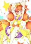 1girl alternate_eye_color amanogawa_kirara armpits arms_up blush boots brown_eyes brown_hair cure_twinkle earrings gloves go!_princess_precure jewelry long_hair low-tied_long_hair magical_girl multicolored_hair petticoat precure quad_tails redhead satou_(kuso-neet) skirt solo star star_earrings streaked_hair thigh-highs thigh_boots twintails two-tone_hair white_boots white_gloves white_legwear