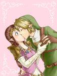 1boy 1girl blonde_hair blue_eyes blush brown_hair dress elbow_gloves fingerless_gloves gloves hand_on_another's_hip hat kiss link long_hair pointy_ears princess_zelda short_hair the_legend_of_zelda twilight_princess wasabi_(legemd) white_gloves