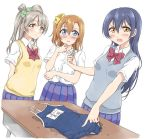 3girls angry bangs blue_eyes blue_hair blue_swimsuit blush bow bowtie commentary_request green_ribbon grey_hair hair_between_eyes hair_bow holding key kousaka_honoka long_hair looking_at_viewer love_live! love_live!_school_idol_project minami_kotori multiple_girls name_tag one-piece_swimsuit one_side_up open_mouth orange_hair otonokizaka_school_uniform plaid plaid_skirt pleated_skirt pointing red_neckwear ribbon school_swimsuit school_uniform shirt short_sleeves simple_background skirt sonoda_umi striped_neckwear swimsuit tetopetesone vest white_background white_shirt yellow_eyes yellow_ribbon