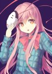 1girl bow culter eyelashes hata_no_kokoro holding_mask long_hair long_sleeves looking_at_viewer mask noh_mask open_mouth orange_eyes pink_hair plaid plaid_shirt purple_background red_bow shirt simple_background solo touhou twitter_username upper_body