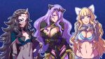 3girls akairiot bangs blonde_hair blue_eyes bow breast_hold breasts camilla_(fire_emblem_if) charlotte_(fire_emblem_if) cleavage cleavage_cutout covered_mouth fire_emblem fire_emblem_if gauntlets hair_bow hair_over_one_eye horned_headwear large_breasts licking_lips long_hair messy_hair multiple_girls nyx_(fire_emblem_if) purple_hair red_eyes small_breasts smile tiara tongue tongue_out veil very_long_hair violet_eyes