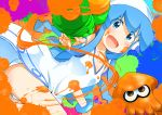 1girl blue_eyes blue_hair blush dress ei_(ss4) hat highres ikamusume long_hair octarian open_mouth shinryaku!_ikamusume smile solo splatoon super_soaker tentacle_hair tentacles