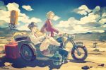 black_hair blonde_hair closed_eyes clouds cloudy_sky computer crossed_legs desert glasses jacket laptop motor_vehicle motorcycle mountain original pomodorosa shadow sidecar signature sitting sky typing vehicle water_tank water_tower