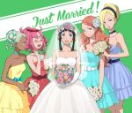 5girls aida_rayhunton bouquet bows dress earrings elbow_gloves flower flower_on_head gloves gundam gundam_g_no_reconguista kei-co manny_ambassada noredo_nug raraiya_monday veil wedding_dress