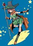 1girl boots breasts cape dragon_quest dragon_quest_iii dress flask gloves hat leg_up looking_at_viewer mage_(dq3) pink_eyes pink_hair short_dress smile solo staff standing_on_one_leg star tajima_ryoushi witch_hat