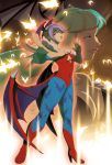 2girls bare_shoulders bat bat_wings breasts bridal_gauntlets cleavage demon_girl flat_chest foreshortening full_body green_hair head_wings highres inset large_breasts leotard lilith_aensland long_hair morrigan_aensland multiple_girls outstretched_hand pantyhose print_legwear purple_hair red_eyes short_hair solo_focus succubus tovio_rogers vampire_(game) wings