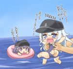 2girls :o akatsuki_(kantai_collection) anchor_symbol blue_eyes chibi crying flailing hat hibiki_(kantai_collection) innertube kantai_collection kotanuki_329 multiple_girls one-piece_swimsuit purple_hair silver_hair swimsuit tears translation_request violet_eyes water younger