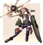 1girl airplane bow_(weapon) brown_eyes brown_hair crossbow fairy_(kantai_collection) headband headgear highres kantai_collection machinery panikuru_yuuto short_hair solo taihou_(kantai_collection) uniform weapon