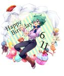 1boy character_name character_request cupcake dated english flower gift green_eyes green_hair happy_birthday johan_andersen macaron male_focus open_mouth short_hair simple_background solo_focus tobi_(one) white_background yuu-gi-ou yuu-gi-ou_gx yuuki_juudai