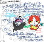 blush cat crying fang formal ghost half-closed_eyes jibanyan multiple_tails necktie notched_ear open_mouth purple_lips sakiko_(gekiama) suit sweatdrop tail tears tissue_box translation_request two_tails used_tissue wall_of_text whisper_(youkai_watch) white_background youkai youkai_watch