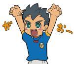 1boy blush_stickers fang green_eyes inazuma_eleven inazuma_eleven_(series) inazuma_japan male_focus norun open_mouth paw_pose short_hair smile soccer_uniform solo sportswear utsunomiya_toramaru