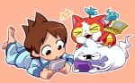 >_< 1boy :o amano_keita barefoot brown_hair cat fangs ghost jibanyan lying multiple_tails nintendo_3ds notched_ear on_stomach open_mouth pajamas purple_lips sakiko_(gekiama) short_hair simple_background tail two_tails watch watch whisper_(youkai_watch) youkai youkai_watch youkai_watch_(object)