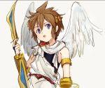 1boy angel_wings bow_(weapon) brown_hair gauntlets kid_icarus laurel_crown looking_at_viewer myuu1995 pit_(kid_icarus) sleeveless toga torso violet_eyes weapon wings
