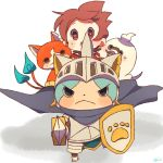 1boy amano_keita armor brown_hair cape cat chiyoko_(oman1229) ghost helmet jibanyan knight looking_at_viewer multiple_tails notched_ear nyankishi open_mouth paw_print purple_lips red_shirt shield shirt short_hair sweat sword tail two_tails weapon whisper_(youkai_watch) white_background youkai youkai_watch youkai_watch_busters