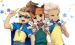 3boys brown_eyes brown_hair cape endou_mamoru gloves goggles gouenji_shuuya hairlocs headband highres inazuma_eleven inazuma_eleven_(series) kidou_yuuto male_focus multiple_boys norun open_mouth parted_lips raimon raimon_soccer_uniform red_eyes short_hair smile soccer_uniform sportswear star tan white_hair