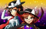 2girls brown_eyes brown_hair cape dress_shirt glasses gradient gradient_background grin hand_on_headwear hat hat_ribbon light_particles long_sleeves looking_at_viewer multiple_girls necktie open_mouth plaid plaid_shirt red-framed_glasses ribbon semi-rimless_glasses shirt short_hair signature smile tie_clip touhou u-eruto under-rim_glasses usami_renko usami_sumireko