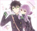 1boy 1girl black_hair brown_eyes forced_smile gloves green_eyes hiiragi_shinoa hyakuya_yuuichirou katana long_hair military military_uniform owari_no_seraph purple_hair ringoro scythe short_hair smile sword uniform weapon