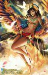 1girl alice_jing anklet barefoot bikini_top crown dark_skin detached_sleeves egyptian egyptian_mythology facial_mark goddess headdress isis jewelry midriff navel revenge_of_dragoon skirt staff wings