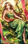 1girl alice_jing apple barefoot basket brown_hair dress earrings flower food forest fruit goddess hair_flower hair_ornament jewelry long_hair nature necklace revenge_of_dragoon