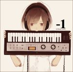 1 1girl brown_hair commentary_request english grey_background headphones holding instrument keyboard korg_microkorg looking_at_viewer mitsuki_mouse original sepia shirt short_sleeves solo star star-shaped_pupils symbol-shaped_pupils synthesizer upper_body